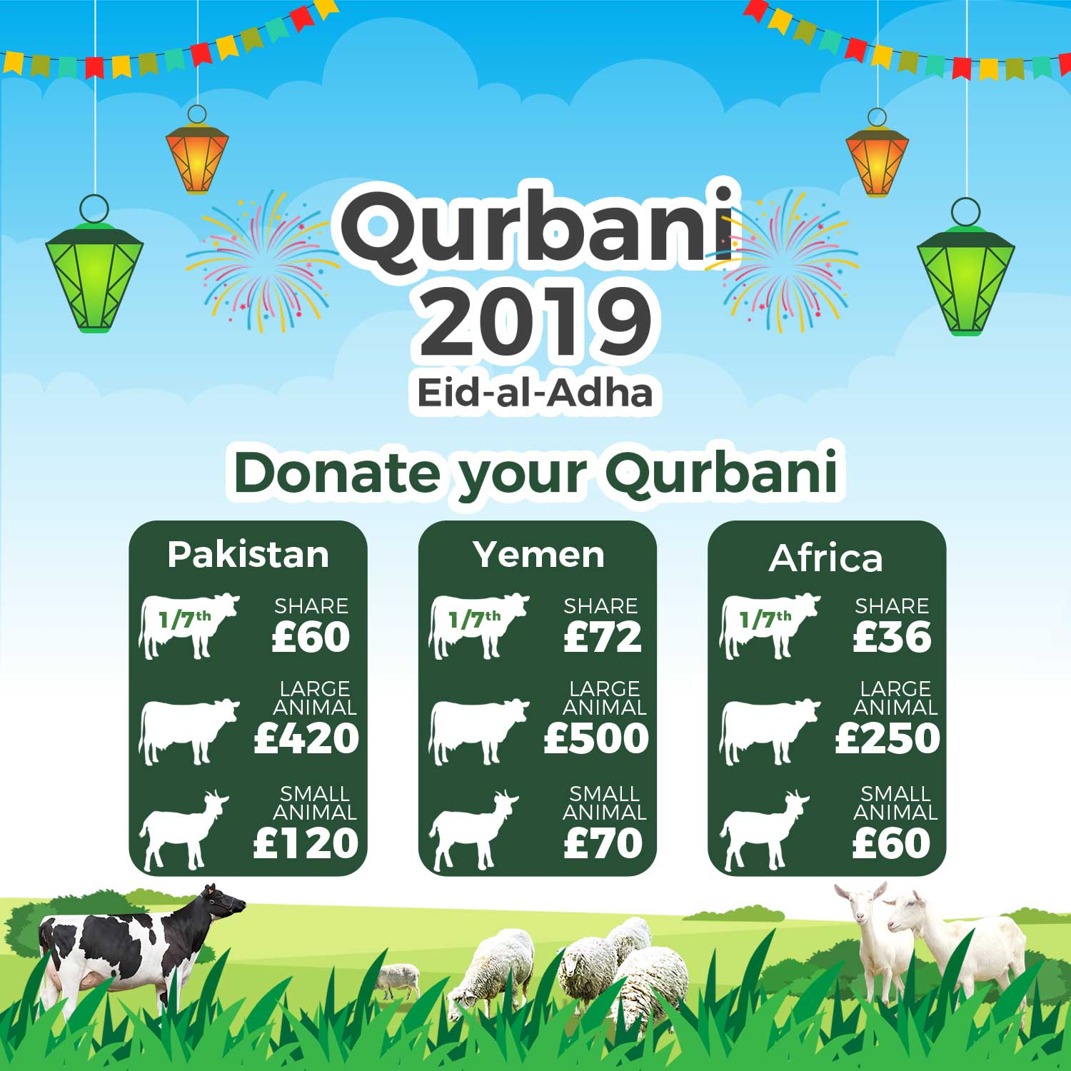 Qurbani Appeal 2019 - Share For £36, Small Animal For £60 - Donate Now